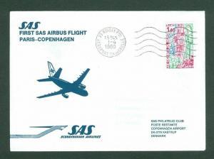 France. Denmark. First Flight Cover 1980. SAS  Airbus. Paris - Copenhag.