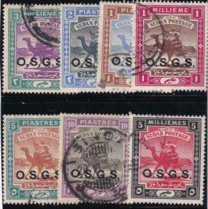 British Sudan 1903-1912 SC O3-O9 Used Set