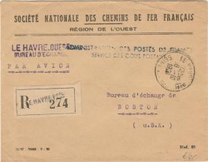 FRANCE - 1951 - LSC Officielle recommandée pour Boston (service Colis-Postaux)