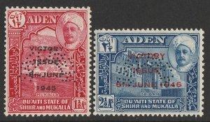 ADEN Shihr & Mukalla : 1946 Victory set ½a & 2½a, perf SPECIMEN. MNH **.