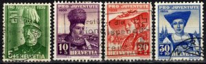 Switzerland #B96-99  F-VF Used CV $25.10  (X2580)