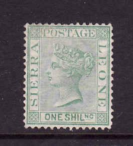 Sierra Leone-Sc#20-unused hinged 1sh green-QV-1876-96-