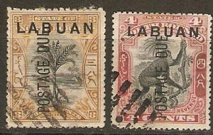 Labuan J2, 3b SG 202-3 Used VF SCV $2.65