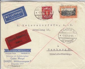 1934, Danzig to Hamburg, Germany, Express, Airmail, See Remark (30389)