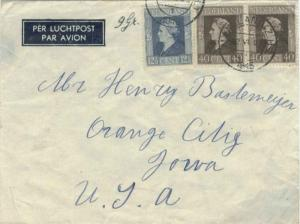 Netherlands 40c (2) and 12 1/2c Wilhelmina 1946 Maasland (Z.H.), 1 Airmail to...