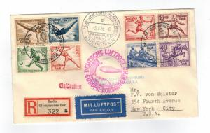 1936 Germany Hindenburg LZ 129 Zeppelin Olympics Cover to USA comp set # B82-B89