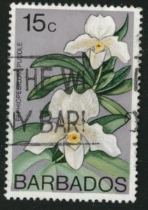 Barbados Scott 404 Used Lady slippers Flower stamp 1974