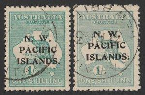 NEW GUINEA - NWPI 1918 Kangaroo 1/- emerald & 1/- pale blue-green.