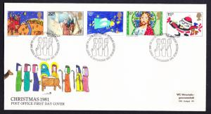 Great Britain Christmas 1981 Children's Pictures 5v FDC SG#1170-1174