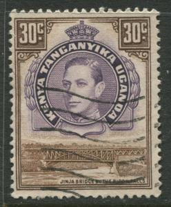Kenya & Uganda - Scott 77 - KGVI Definitive -1952 - Used - Single 30c Stamp