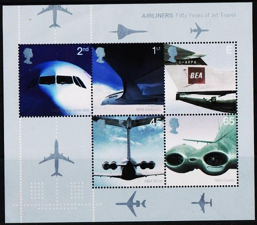 Great Britain. 2002 Miniature Sheet. Airliners.S.G.MS2289 Unmounted Mint