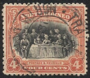 NORTH BORNEO 1926 Sc 170 4c Assembly Meeting Used, Train Mail postal cancel