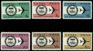CANAL ZONE #C42-47 1964 6c TO 80c CANAL ZONE SEAL AIR MAIL ISSUES-MINT-OG/VLH