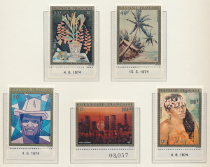 French Polynesia Stamps Scott #C-107 To C-111, Mint Never Hinged, Date Selvag...
