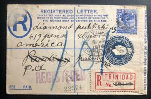 1914 Trinidad & Tobago Registered Letter Stationery Cover To Palmyra Pa USA