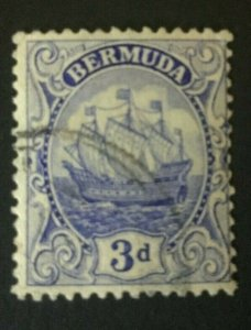 Bermuda: 1922 Sailing Ship, 3d ultramarine  SG 83, good used.