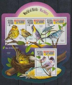 Sierra Leone MNH S/S Warbler Birds 2015 4 Stamps