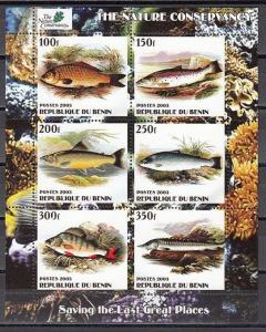 Benin, 2003 Cinderella issue. Various Fish on a sheet of 6.