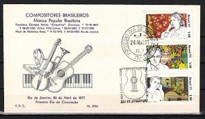Brazil, Scott cat. 1500-1502. Brazilian Composers issue. First day cover. *