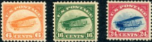 #C1-3 – 1918 Curtiss Jenny, set of 3 stamps. MLH OG