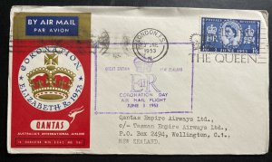 1953 London England Cover Queen Elizabeth 2 coronation Qantas FDC To New Zeaalnd
