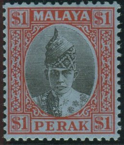 PERAK-1940 $1 Black & Red/Blue.  A mounted mint example Sg 119
