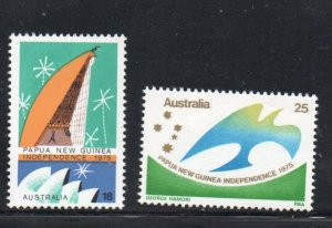 Australia Sc 624-5 1975 Papua New Guinea Independence stamp set mint NH