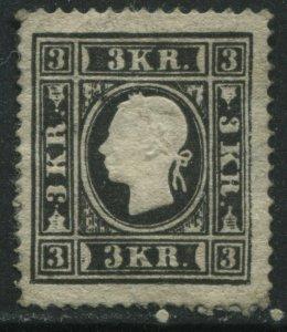 Austria 1858 3 kreuzers black Type 1 unused no gum