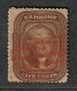 US Sc#30a Used/F, Red Cancel-S/P O/W Sound, Cv. $355