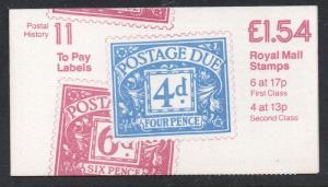 Great Britain Sc BK641 1984 £1.54 MH97f  Machin stamp booklet mint NH