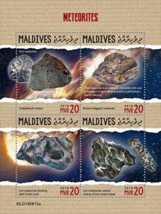 MALDIVES - 2019 - Meteorites - Perf 4v Sheet - MNH