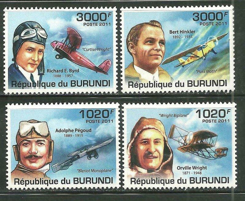 Burundi MNH 996-9 Aviators/Planes 2011 SCV 12.50