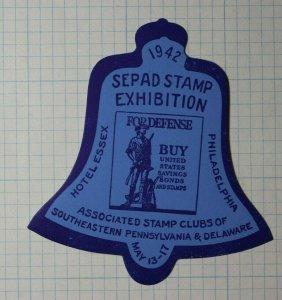 SEPAD Stamp Exhibition 1942 Buy Savings Bonds Philatelic Souvenir Ad Label