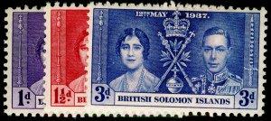 BRITISH SOLOMON ISLANDS SG57-59, COMPLETE SET, NH MINT. CORONATION.
