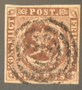 Denmark #2, 4RBS, Used, VF 4 mgns., Scott $40.00