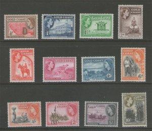 Gold Coast 1952 QEII Sc 148-159 set MLH