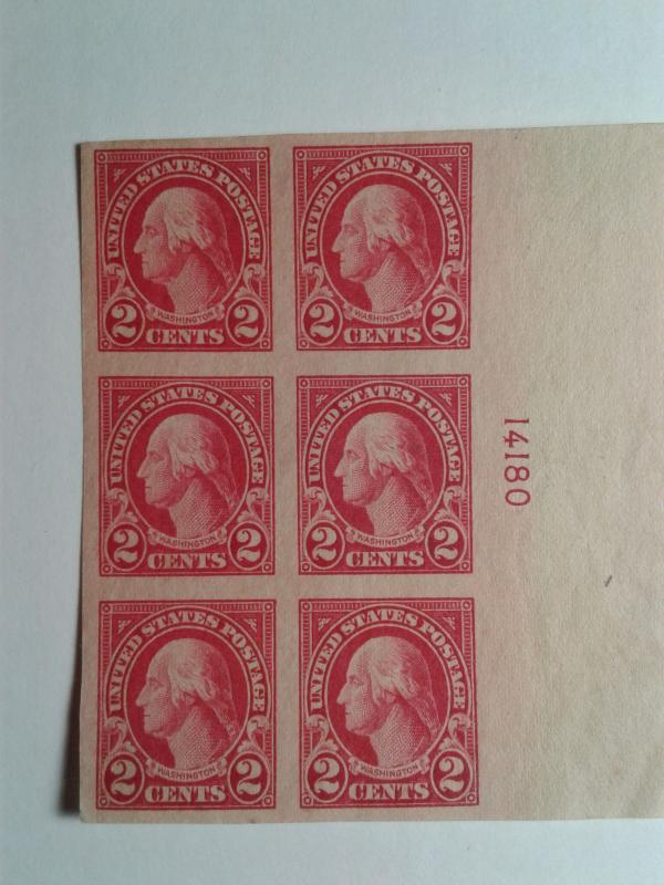 SCOTT # 577 IMPERFERATED PLATE BLOCK OF 6 NO GUM. STUNNING PIECE !!