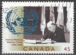 Canada  1584 Used  United Nations 50th Anniversary
