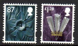 Great Britain Wales 40-1 2012  Daffodil & Feathers stamp set mint NH