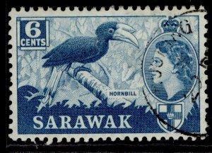 SARAWAK QEII SG191, 6c greenish blue, FINE USED.
