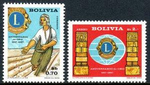Bolivia 492,C273, MNH. Lions Intl.50th anniv.Emblem,Prehistoric Sculptures,1967