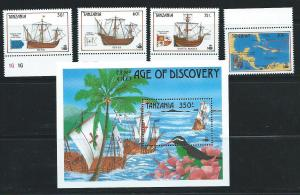 Tanzania 555-9 1990 500th Discovery of America set and s....