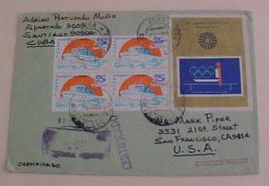 CUBA  SHEETLET 1992 SANTIAGO REGISTERED TO USA