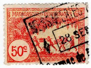 (I.B) France Colonial Revenue : Madagascar Duty 50c