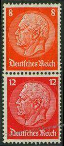Germany 1933 Hindenburg Michel S112 MH Wmk Net Se-Tenant Zusammendruck 53325