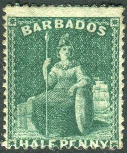 BARBADOS-1874-75 ½d Deep Green.  A lightly mounted mint example Sg 65