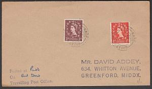 GB 1957 cover GREAT WESTERN TPO / DOWN railway cancel......................57416