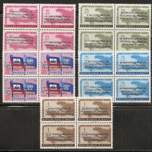 Haiti 442-3 C136-8 1959 10th Human Rights set NH
