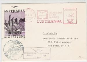 Germany 1959 Lufthansa Slogans Interpex Germany-USA Flight Stamps Cover Rf 25912