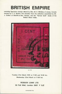 British Empire, Robson Lowe Ltd. Stamp Auction Catalog, March 21-22, 1972